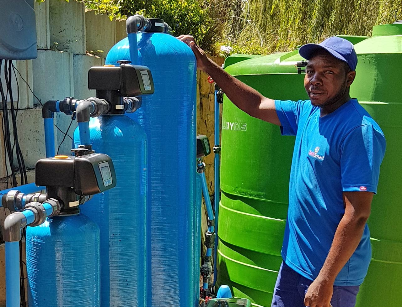 Water treated for high iron content